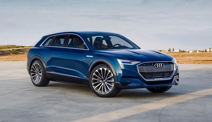 Audi e-tron quattro koncept z autosalónu vo Frankfurte 2015. Je označovaný aj ako Audi Q6 Crossover Coupe.