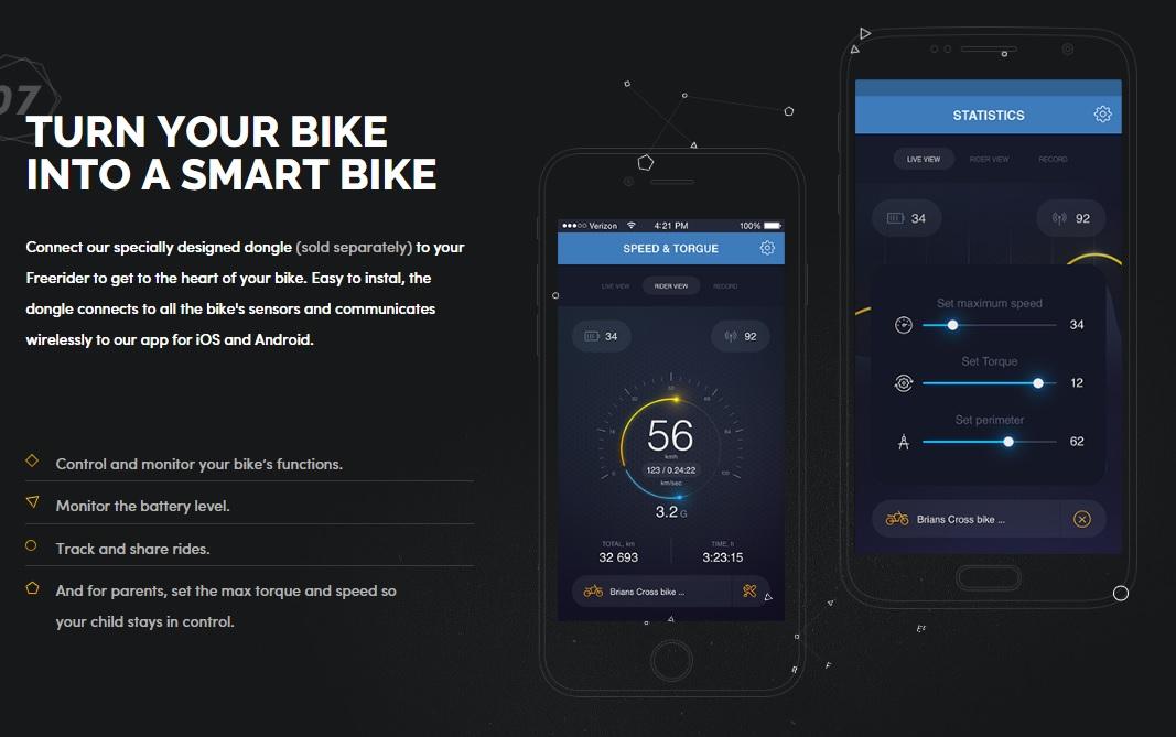Aplikácia pre smartfóny na ovládanie a sledovanie Kuberg Freerider