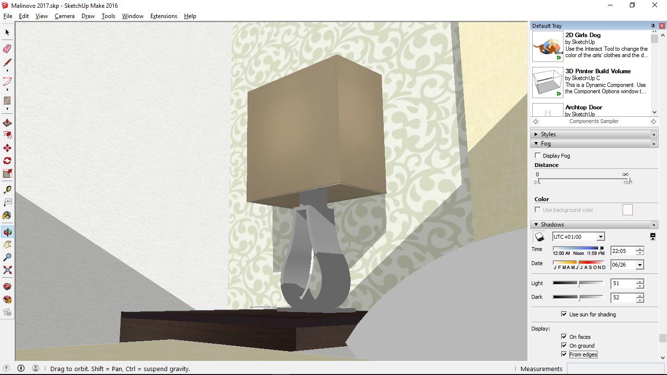 Program SketchUp umožňuje veľmi precízne 3D modelovanie. Skvelý je tiež 3D Warehouse, teda sklad platených i bezplatných 3D modelov od iných tvorcov. Nájdete tu aj množstvo produktov z obchodu IKEA, na fotke vyššie vidíte lampu KLABB.
